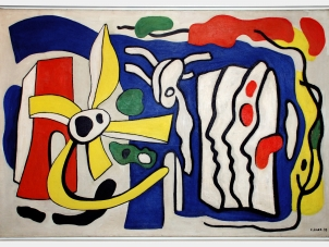 """This image is a cropped photo of Fernand Leger's painting titled """"Composition aux Trois Profils"""" (Composition with Three Profiles) executed in 1937. The present work belongs to Léger's most abstract series founded on this contrast, and it anticipates the artist's development over the next decade. His fascination with the composition intensified in 1937, a highly productive year in which he made seven variations of the painting. The present painting – and the other versions from that year – have an unprecedented complexity of form, exuberance of movement and brilliance of color."""