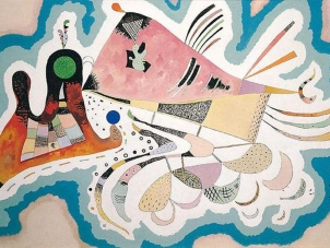 This image represents a painting by Kandinskt, titled, Voisinage, executed in 1939.  The present work is an important composition from the artist's last great abstract period. The elements that build up Voisinage echo forms from the animal kingdom, such as the amoeba-like structures along the lower edge of the painting and the whale-shaped pink mass with its fish tail that dominates the center of the composition. This organic affinity imbues the painting with a wonderfully playful character and a vibrant sense of optimism and affirmation.