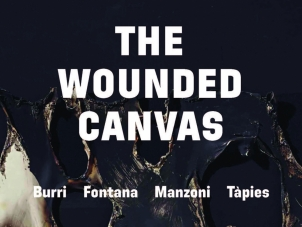 This image is the poster of the exhibition The Wounded Canvas, which features in the background a painting by Albert Burri titled Alberto Burri's Combustione plastica, featuring a black background and a surface that looks like craters created by burned plastic. The flyer also features the name of the four artists participating to the exhibition, Burri, Fontana, Manzoni, Tapies.