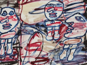 this image features a painting by jean Dubuffet representing three characters surrounded by an abstracted space.