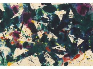 Sam Francis, Untitled (SF77-120) 1977-1978. This image represents an abstract painting by Sam Francis with colorful thick navy lines and purple red and yellow spots.
