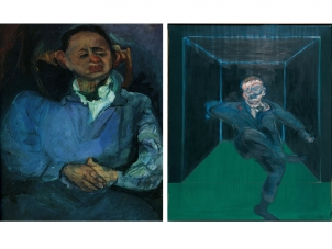 This image is the poster of the exhibition Chaim Soutine and Francis Bacon it features on the left a painting by Soutine and on the right a painting by bacon. They both feature the portrait of a man in their specific style.