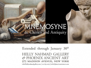 this flyer displays the tile and date of the exhibition titled Mnemosyne de Chirico and Antiquity. It also features on the top left a cropped image of a Giorgio de Chirico painting and on the right it shows a ancient marble statue of a woman.