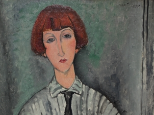"This image is a cropped photo of Modigliani's painting titled ""Jeune Fille à la Chemise Rayée""(Young woman with striped shirt) executed in 1917. It depicts the portrait of a young woman with short red hair and bang wearing a striped shirt and a black tie. The background is in grey and turquoise tons."