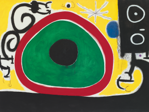 This is a cropped image of Joan Miró's painting titled Oiseaux en Fête pour le lever du Jour, 21 March 1968, 1968 (Birds' Joy at Day's Birth), 21 March 1968