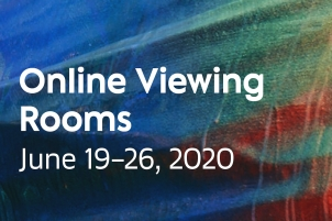 This is a flyer announcing Art Basel's Online Viewing Rooms June 9-26, 2020 gonna colorful blue abstract background.