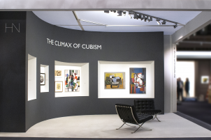 Installation shot featuring The Helly Nahmad Gallery booth at the art fair, TEFAF Spring New York, 2019