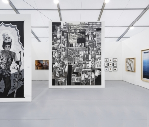 Installation view of Booth B24 at Untitled Miami 2019, featuring large works by Hugo Crosthwaite, photographs by Chris Engman and Ken Gonzales-Day, and video-paintings by Federico Solmi.