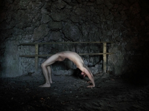 Man in yoga pose by Shen Wei