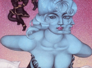Drawing of blue woman by Mel Odom