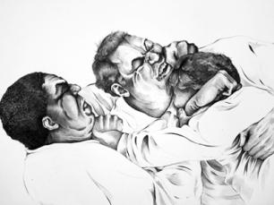 Drawing of men fighting by Justin Francavilla