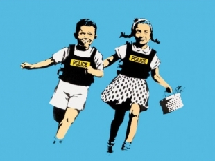 BANKSY Jack and Jill (AKA Police Kids) Four-Color Hand-Pulled Screenprint on Archival Paper 2005