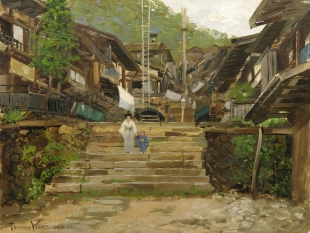 A Street in Ikao, Japan, 1895