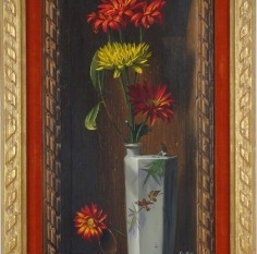 Flower Still Life with Pocket Watch (Trompe l'oeil), 1964