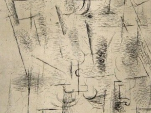 "GEORGES BRAQUE Composition (Nature morte aux verres) 1912 Etching H 13.5"" x W 8.25"" Signed Lower Right - ""G. Braque"""