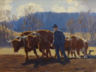 Oxen Ploughing (Old Lyme), circa 1930