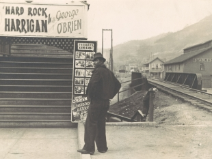 Man Standing in Front of Movie Theater, Omar, West Virginia, 1935