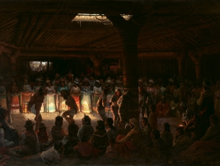Dance in a Subterranean Roundhouse at Clear Lake, California, 1878
