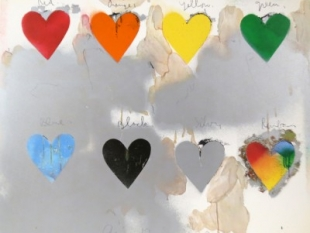 "Jim Dine, born 1935, Eight Hearts, 1970, Screenprint In Colors, H 25.5"" x W 30.25"", Signed and Dated Lower Center"