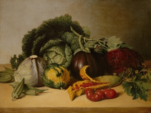 James Peale, Still Life: Balsam Apple and Vegetables, ca. 1820s