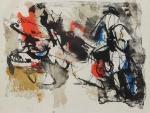 "AFRO, 1912 – 1976, Sagra degli Uccelli, 1962, Lithograph on Paper, H 18.5"" x W 22.75"", Signed and Numbered"
