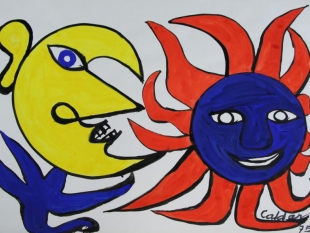 Sun and Moon, 1975, Gouache on Paper