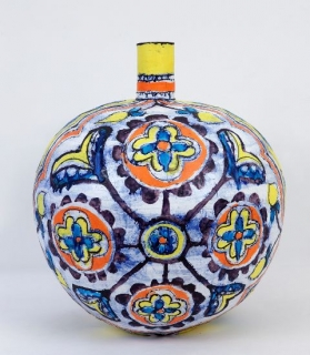 Elisabeth Kley, Large Red, Yellow and Blue Round Flower Bottle, 2012