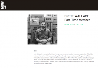 BRETT WALLACE nominated Part-Time Member at NEW INC (The NEW MUSEUM cultural Incubator) - class of 2017-2018