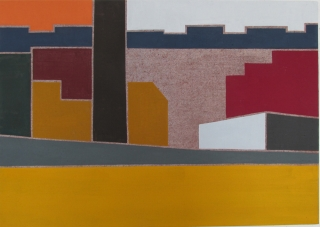 Neighborhood IX, 2014, Egg Tempera on linen, 17x24 inches