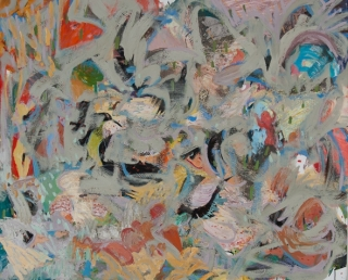 Peter Bonner, The Battle of the Crows and the Owls-Happy Valley on June 22 2012, 2014, Oil on Canvas, 80 x 66 inch