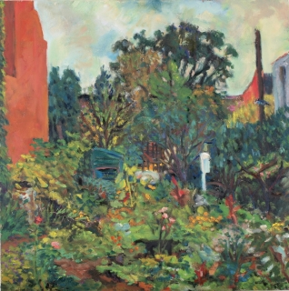 John Cunningham, Brooklyn Garden, 2007, Oil on Canvas, 20 x 20 inches