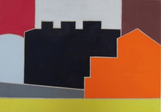 Neighborhood II, 2014, Egg Tempera on linen, 17x24 inches