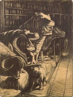 Jürg Kreienbühl Hippopotames 1983 Muséum d'histoire naturelle lithograph lithographie