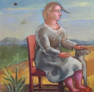 Monique de Roux Femme assise 2015 painting peinture