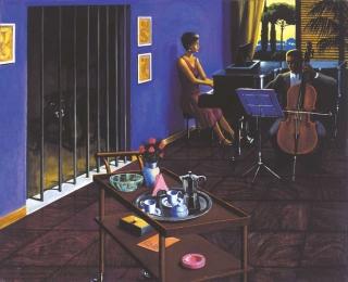 Sergio Ceccotti Violoncello e piano forte 1985 painting peinture