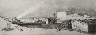 Jürg Kreienbühl La destruction du bidonville 1977 etching gravure