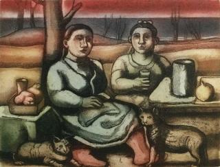 Monique de Roux Femmes assises etching gravure