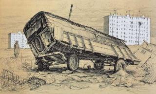 Jürg Kreienbühl La roulotte bancale 1977 lithograph lithographie