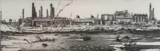 Jürg Kreienbühl La mare de pétrole la raffinerie et le France 1978 lithography lithographie