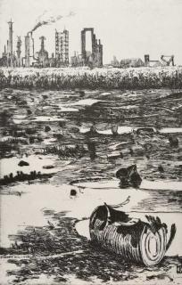 Jürg Kreienbühl Le tonneau éclaté 1978 etching gravure