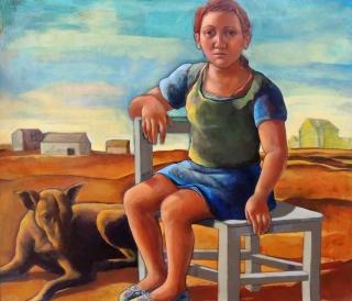 Monique de Roux Fille et chien painting peinture