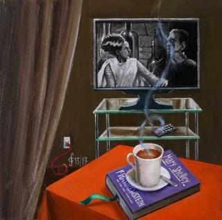 Sergio Ceccotti Mrs. Frankenstein 2017 painting peinture
