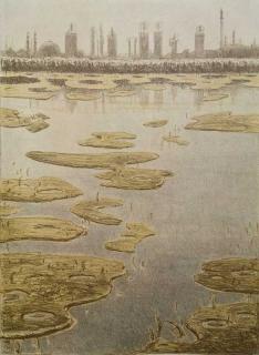 Jürg Kreienbühl Paysage industriel avec pollution pétrolière 1984 lithography lithographie