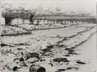 Jürg Kreienbühl Raffinerie et plage polluée 1980 lithograph lithographie