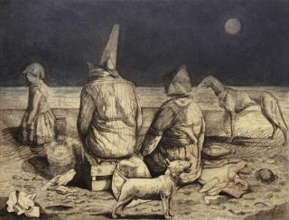 Monique de Roux Playa de Gandia 1983 etching gravure
