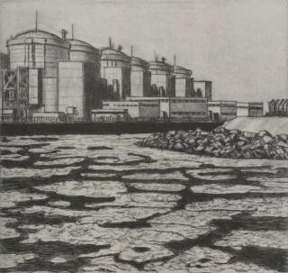 Jürg Kreienbühl Gravelines la centrale nucléaire 1997 etching gravure