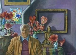 Jürg Kreienbühl Portrait du Dr. Albert Hofmann 1991 painting peinture