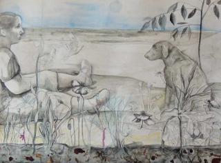 Monique de Roux Nina y perro 2018 drawing dessin