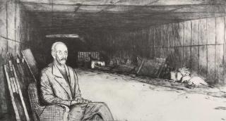 Jürg Kreienbühl Abbès assis 1981 1995 etching gravure