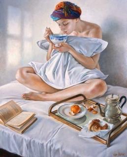 Francine Van Hove Plaisirs du matin 2017 painting peinture